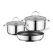 Bosch 17004033 Набор кухонной посуды из 3-х предметов: 2 кастрюли и 1 сковорода